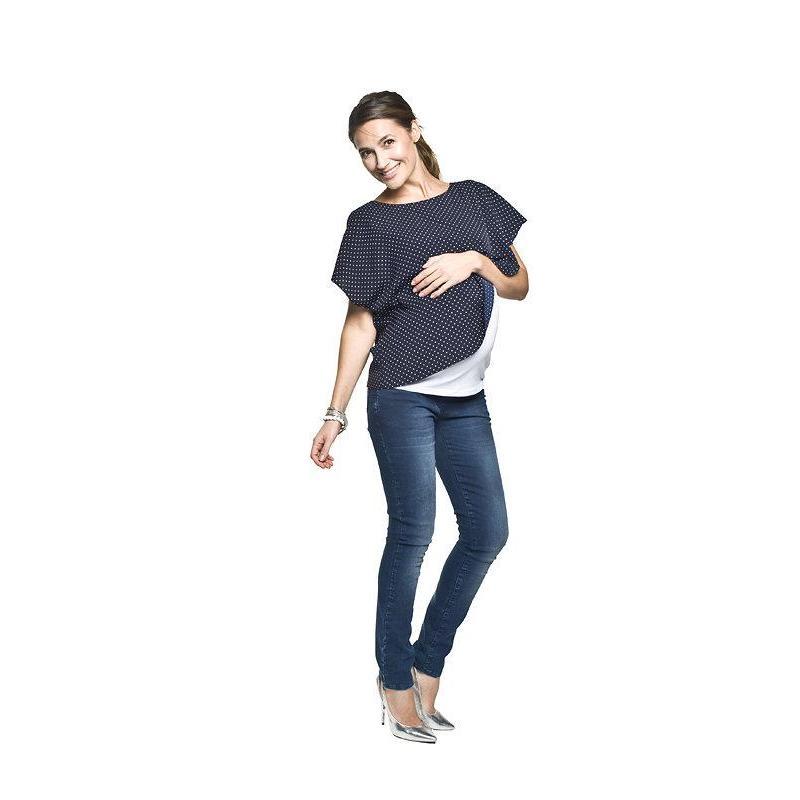 ea09569b1a Tmavomodrá tehotenská blúzka s bodkami pre mamičky - premamku.sk