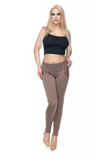 Štýlové nohavice s ozdobnými gombíkmi v čiernej farbe pre dámy