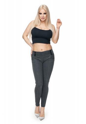 Cappuccinové nohavice s ozdobnými gombíkmi pre dámy