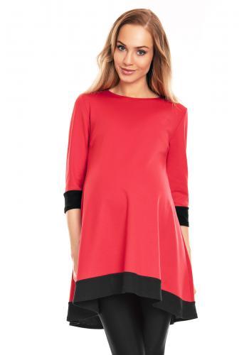 Tehotenské mini asymetrické šaty v tmavozelenej farbe s lemom