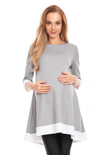 Červené mini asymetrické šaty s lemom pre tehotné