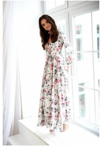 c265daed9fb7 Maxi dámske šaty tmavomodrej farby s kvetovanou potlačou ...