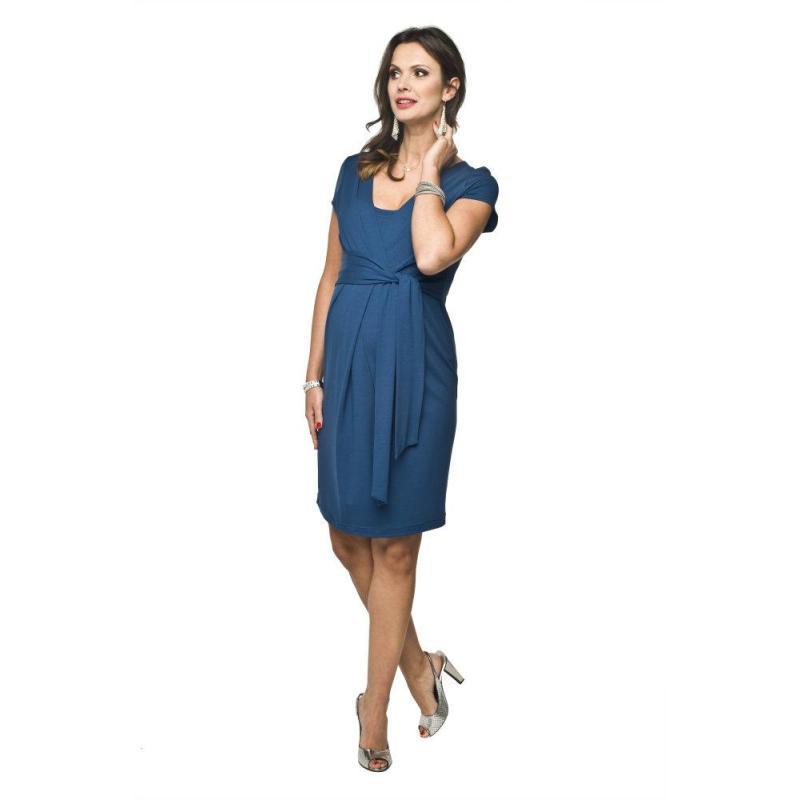 ce1ebca71 Modré tehotenské šaty s krátkym rukávom pre mamičky - premamku.sk