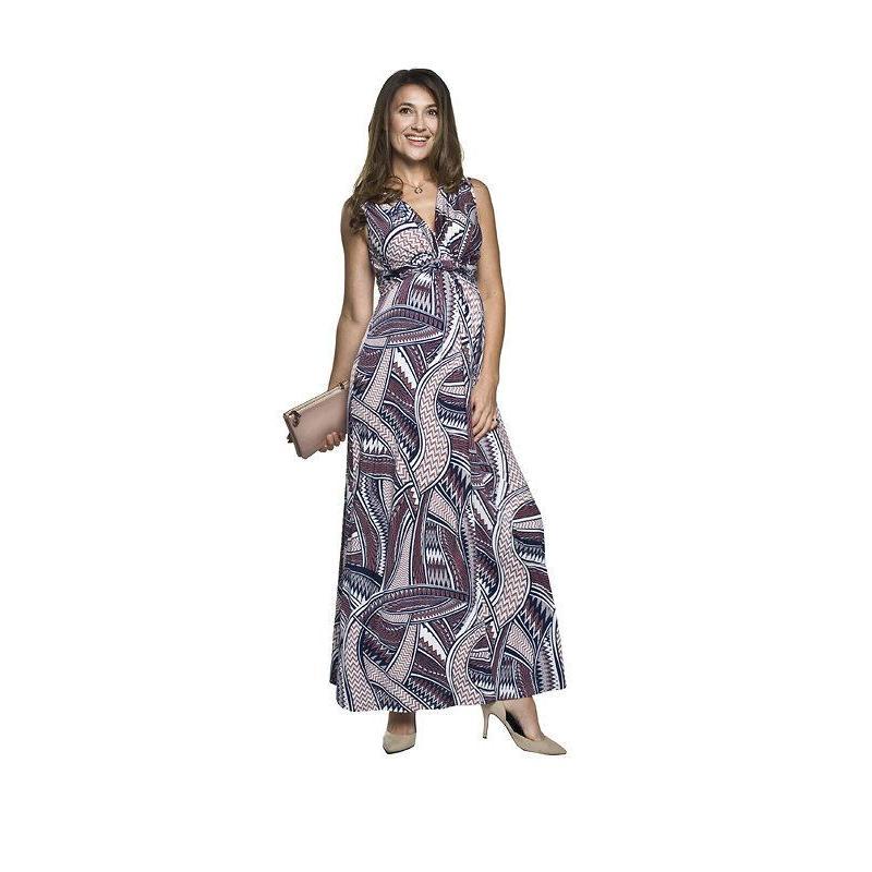 1d7bbd4f63 Modro-ružové dlhé tehotenské šaty so vzorom pre mamičky