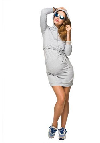 e6d5c972ae85 Tmavomodré športové tehotenské šaty s dlhým rukávom pre mamičky ...
