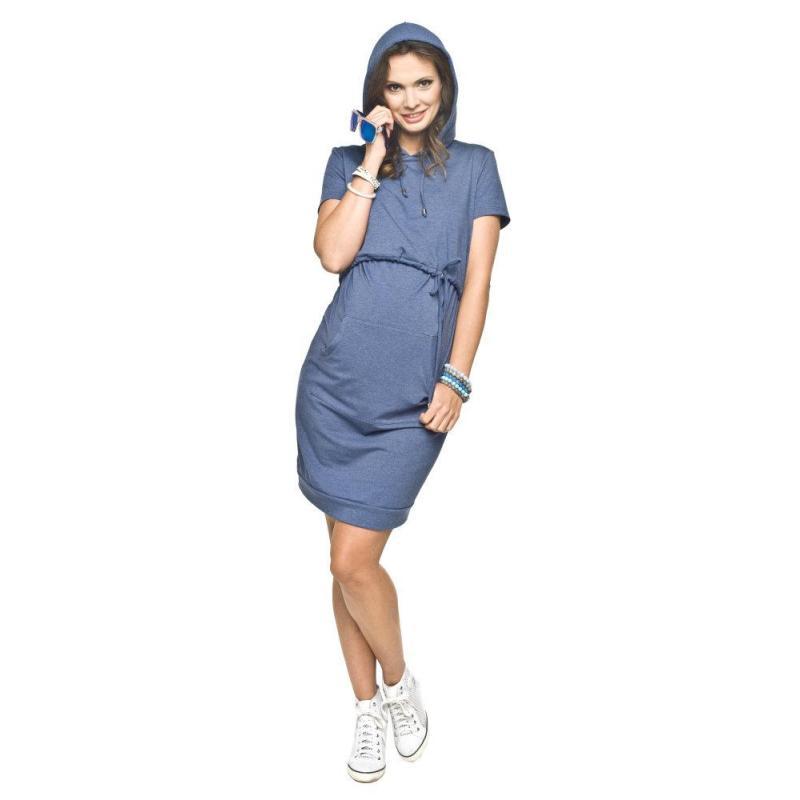 753a813ef Tmavomodré športové tehotenské šaty s krátkym rukávom pre mamičky ...