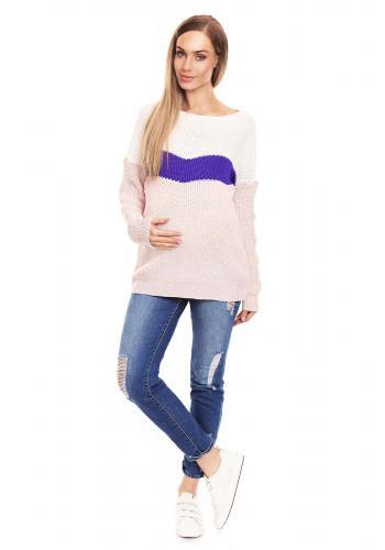 Tehotenský sveter trojfarebný - kaki