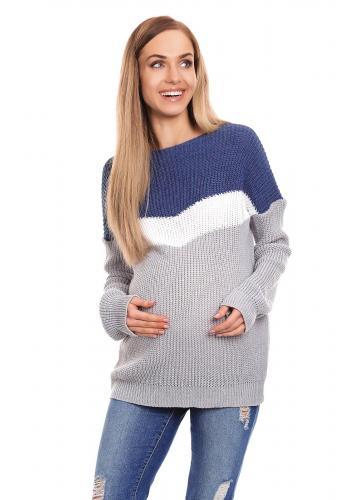 Tehotenský sveter trojfarebný - modrý