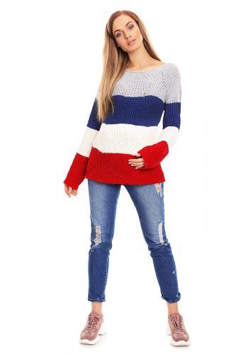Štvorfarebný sveter pruhovaný - fialový pre tehotné