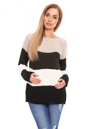 Tehotenský sveter štvorfarebný pruhovaný - modrý