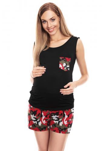 Štvorfarebný sveter pruhovaný - kaki pre tehotné