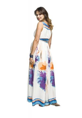 a3e69e9b1d39 ... Bielo-ružové dlhé tehotenské šaty s kvetmi pre mamičky