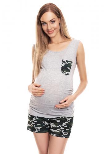 Tehotenské a dojčiace pyžamo so šortkami v čiernej farbe s vojenským motívom