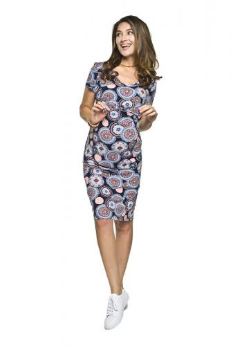e3a9a4134cf8 Modro-ružové tehotenské šaty s kvetmi pre mamičky ...