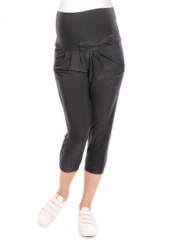 Čierne 3/4 nohavice s elastickým pásom a mašľou pre tehotné