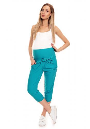 Tehotenské 3/4 nohavice s elastickým pásom a mašľou v tmavosivej farbe