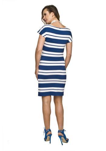 8c7a3f93bba1 ... Tehotenské pásikavé šaty modro-bielej farby na leto