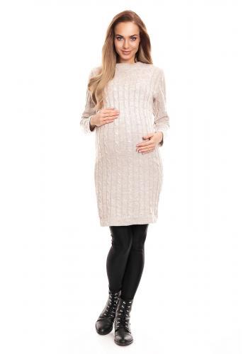 Tmavosivé pletené šaty pre tehotné