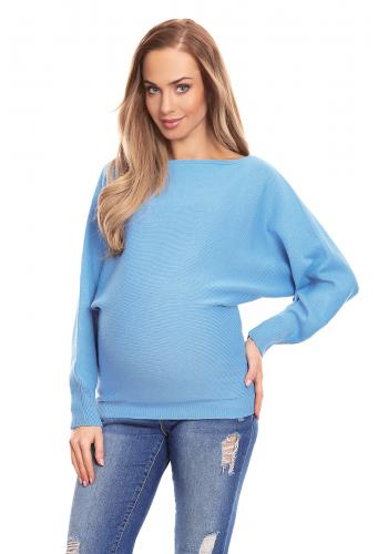 Tehotenský sveter s výstrihom v krémovej farbe