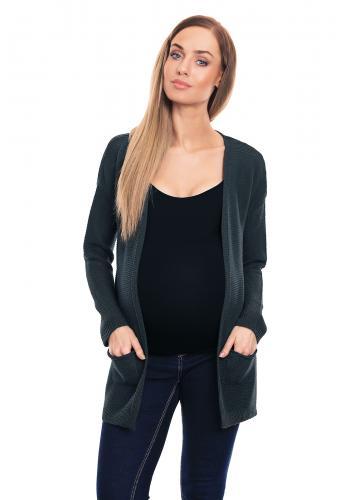 Krémový kardigán bez zapínania s vreckami pre tehotné