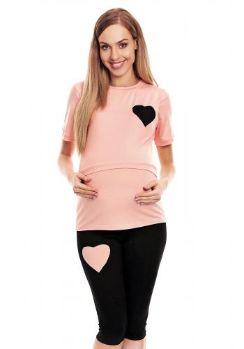 Sivé pyžamo so šortkami s vojenským motívom pre tehotné a dojčiace mamičky