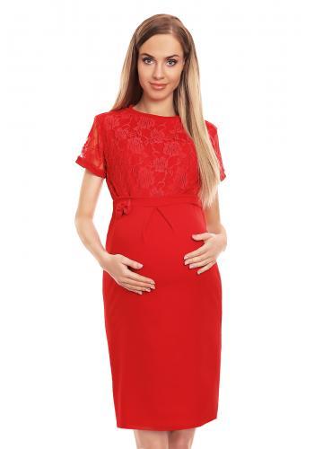 Čierne elegantné šaty s čipkou pre tehotné