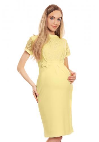 Elegantné tehotenské šaty s čipkou v červenej farbe