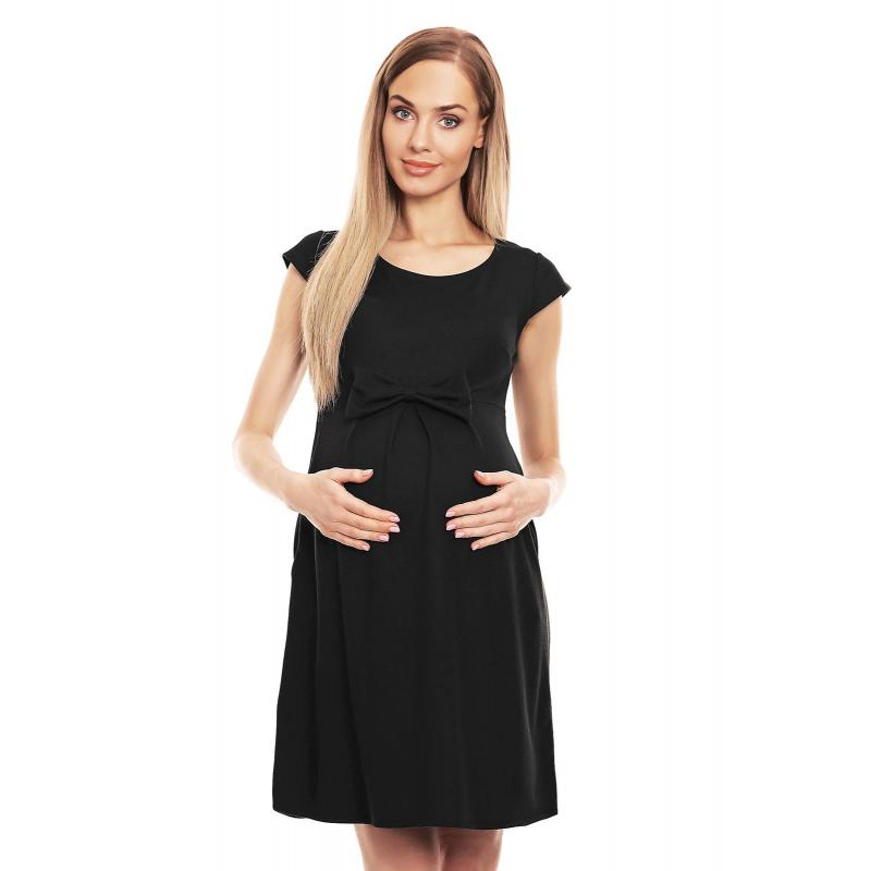 9ed4d8e94 Čierne elegantné rozšírené šaty s mašľou pre tehotné - premamku.sk