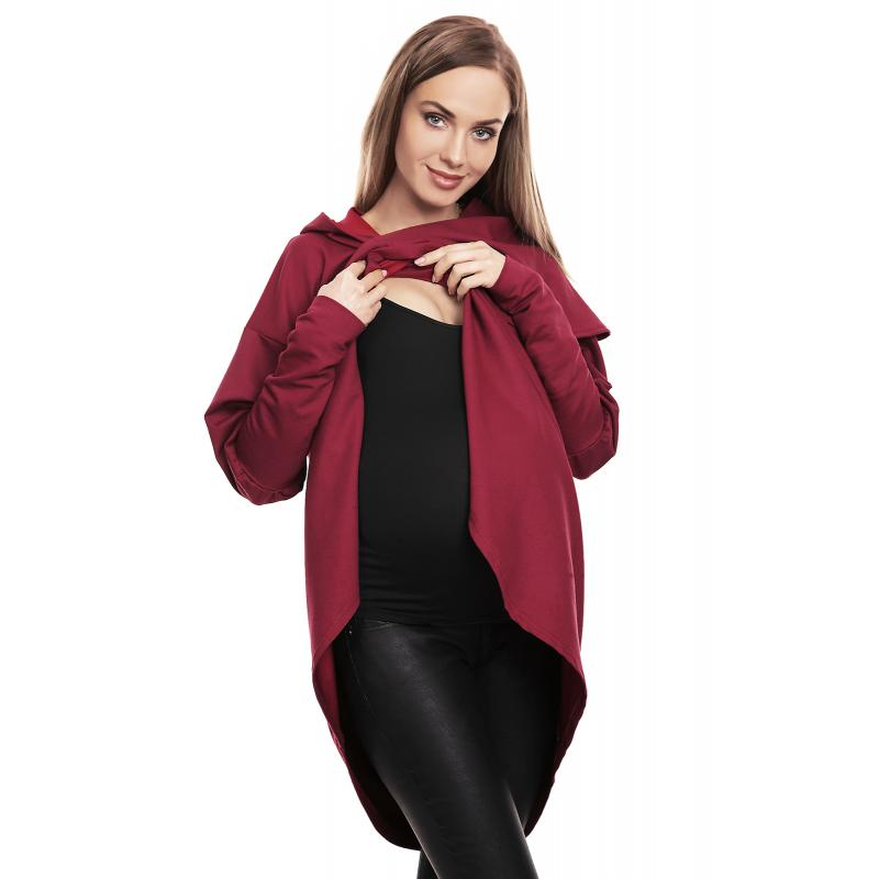 Tehotenská a dojčiaca bavlnená mikina s kapucňou v čiernej farbe