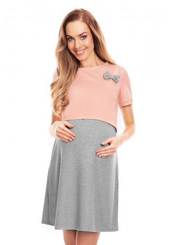 Tehotenská a dojčiaca nočná košeľa v korálovej farbe s mašľou