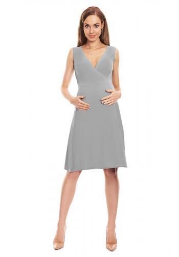 Mätové tehotenské letné šaty bez rukávu s výstrihom