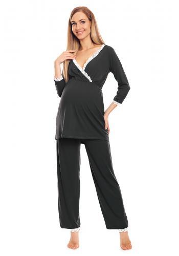 Sivé tehotenské a dojčiace pyžamo s legínami a tričkom s kŕmnym panelom srdce