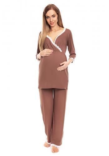Tehotenské a dojčiace pyžamo s nohavicami a tričkom s dlhým rukávom v tmavosivej farbe s výstrihom