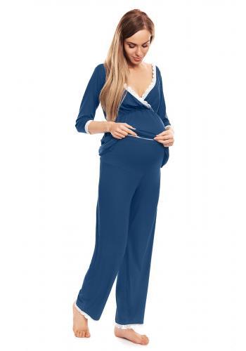 Cappuccinové tehotenské a dojčiace pyžamo s nohavicami a tričkom s dlhým rukávom s výstrihom