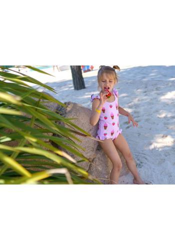 Svetlomodré plavky s potlačou labutí pre dievčatá