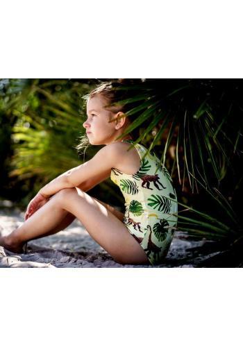 Dievčenské plavky jednodielne v bielej farbe s motívom morských rias a volánikmi
