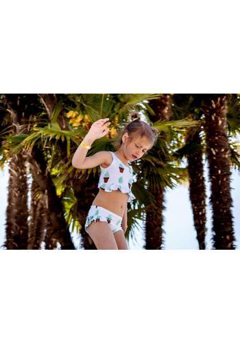 Farebné dvojdielne plavky s potlačou morských mušlí a volánikmi pre dievčatá