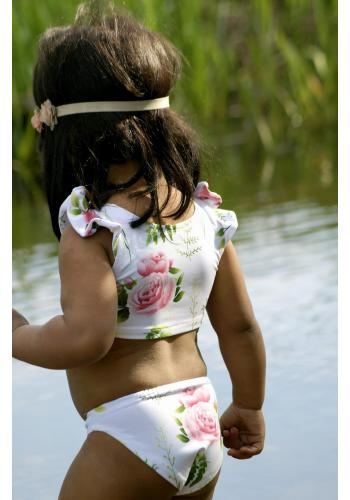 Dievčenské dvojdielne plavky vo svetlo mätovej farbe s motívom zmrzliny a mäty s volánikmi