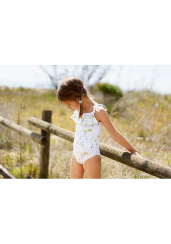 Biele jednodielne plavky s motívom sirén a volánikmi pre dievčatá