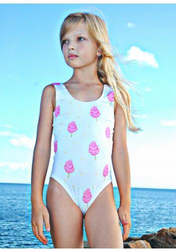 Dievčenské jednodielne plavky s potlačou čokoládovej šišky v bielej farbe