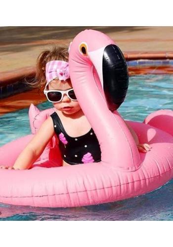 Čierne dvojdielne plavky s motívom sladkej cukrovej vaty pre dievčatá