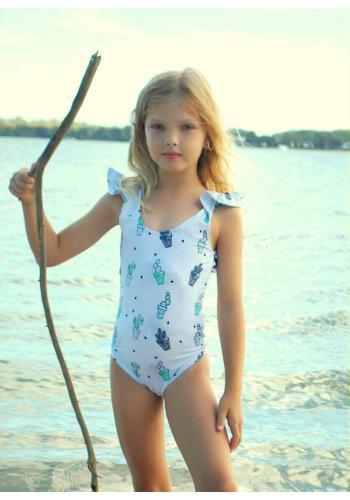 Dievčenské jednodielne plavky s potlačou sladkej cukrovej vaty v sivej farbe