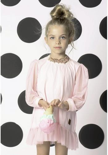 Dievčenské šaty/tunika s potlačou srniek s volánikom v hnedej farbe