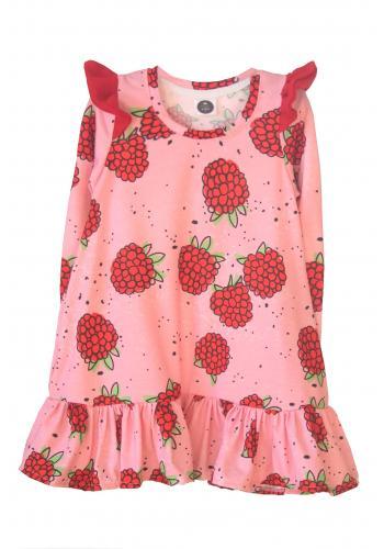 Dievčenské letné šaty bez rukávu vo svetlo ružovej farbe s motívom zmrzliny a jahôd
