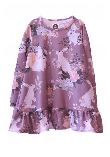 Svetlo ružové šaty s potlačou malín s dlhým rukávom a volánikmi pre dievčatá