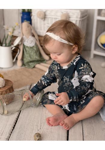 Olivové šaty s potlačou králikov a rastlín s dlhým rukávom a volánikmi pre dievčatá