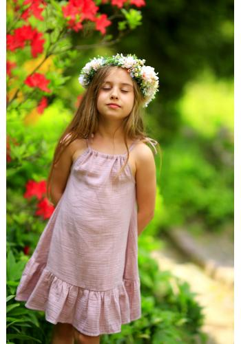 Dievčenské letné šaty na ramienka s volánikom v olivovej farbe