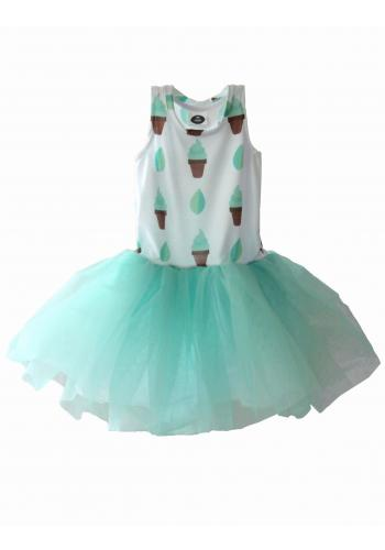 Farebné šaty s potlačou horúcej čokolády a marshmallow s volánikom pre dievčatá