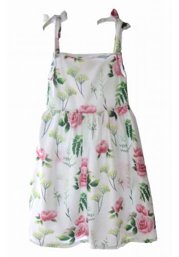 Staro ružové letné šaty na ramienka s volánikom pre dievčatá