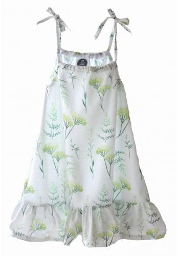 Biele letné šaty na ramienka s potlačou ruží a rastlín pre dievčatá